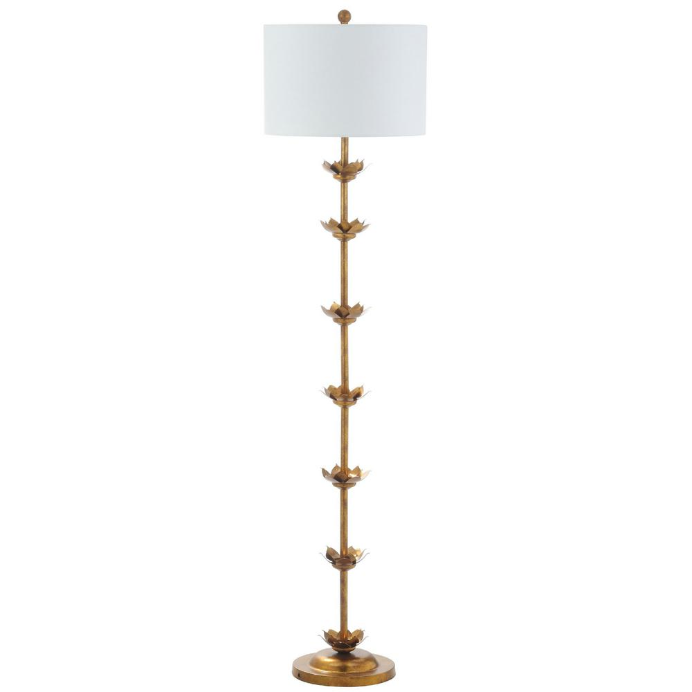 safavieh landen leaf 63 5 in antique gold floor lamp with off white shade fll4003a the home depot