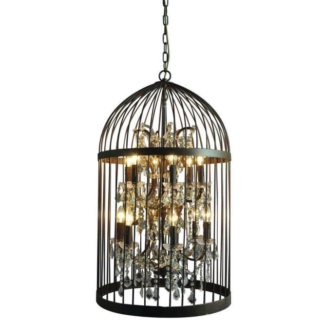 Y Decor Hunter 12 Light Rustic Black Cage Chandelier Lz2079 6 6rr The Home Depot