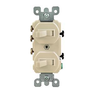 Leviton 15 Amp 3Way Double Toggle Switch, Ivory5241IKS