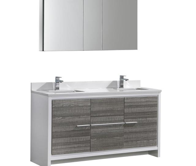 Modern Bathroom Vanity In Ash Gray With Double Quartz Stone Vanity Top In White And Medicine Cabinet