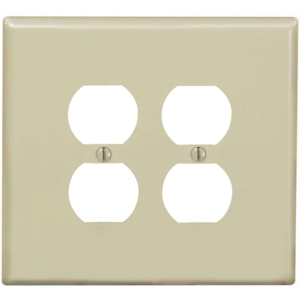 Leviton 2 Gang Jumbo Duplex Outlet Wall Plate Ivory R51