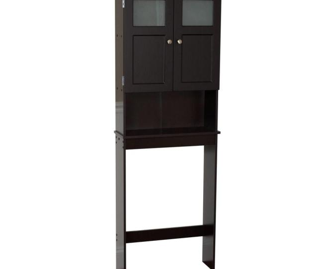 D 2 Door Over The Toilet Spacesaver Storage Cabinet With Glass Doors In Espresso