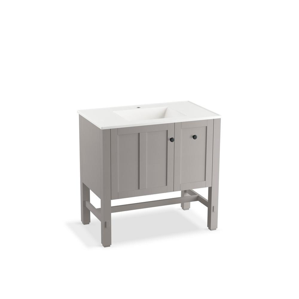 kohler tresham 36 in w vanity in mohair grey with vitreous china vanity top in