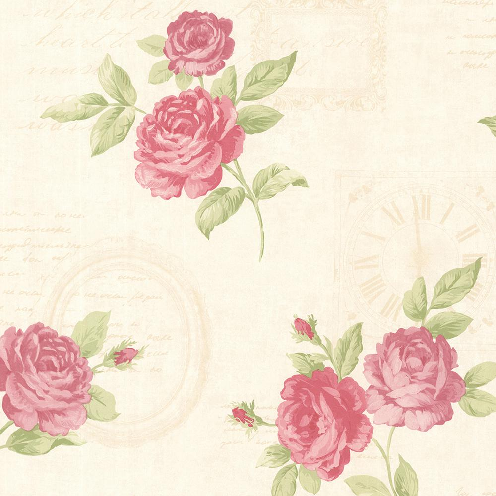 Brewster Venetia Pink Vintage Rose Toss Vinyl Peelable Roll Covers 56 4 Sq Ft 2532 20450 The Home Depot