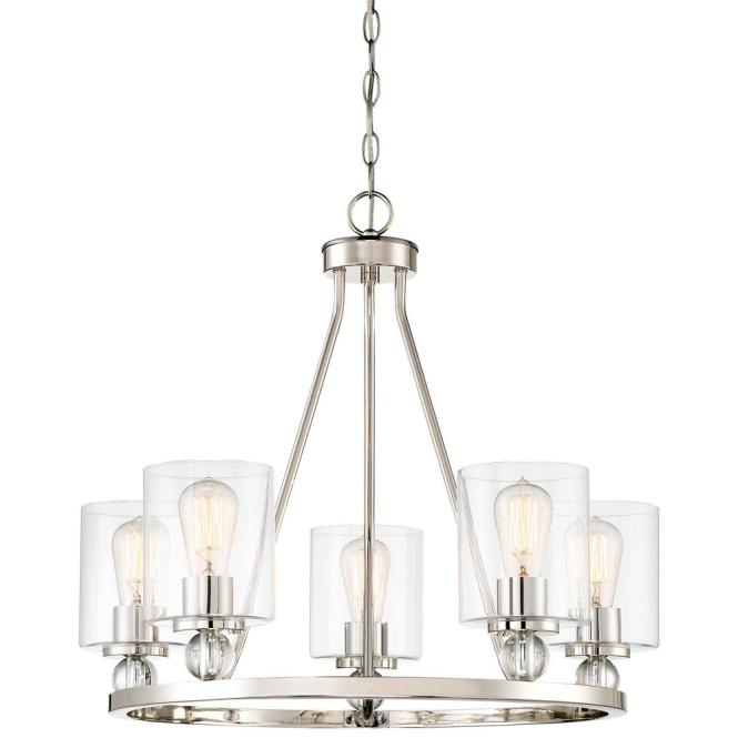 Minka Lavery Studio 5 Collection Light Polished Nickel Chandelier With Clear Glass Shades