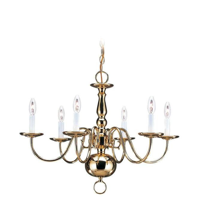 Sea Gull Lighting Traditional 6 Light Polished Brass Colonial Style Chandelier