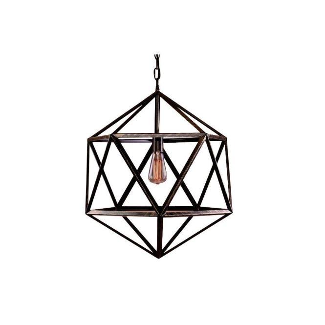 Warehouse Of Tiffany Caged 1 Light Black Steel Chandelier