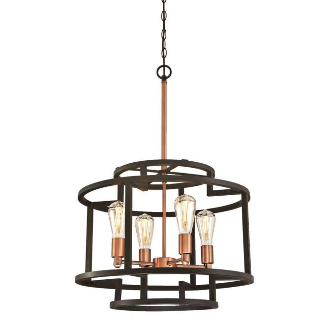 Weston 4 Light Oil Rubbed Bronze And Washed Copper Chandelier