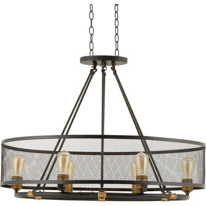 Home Decorators Collection Mayfield Park 6 Light Forged Bronze Oval Chandelier With Mesh Shade