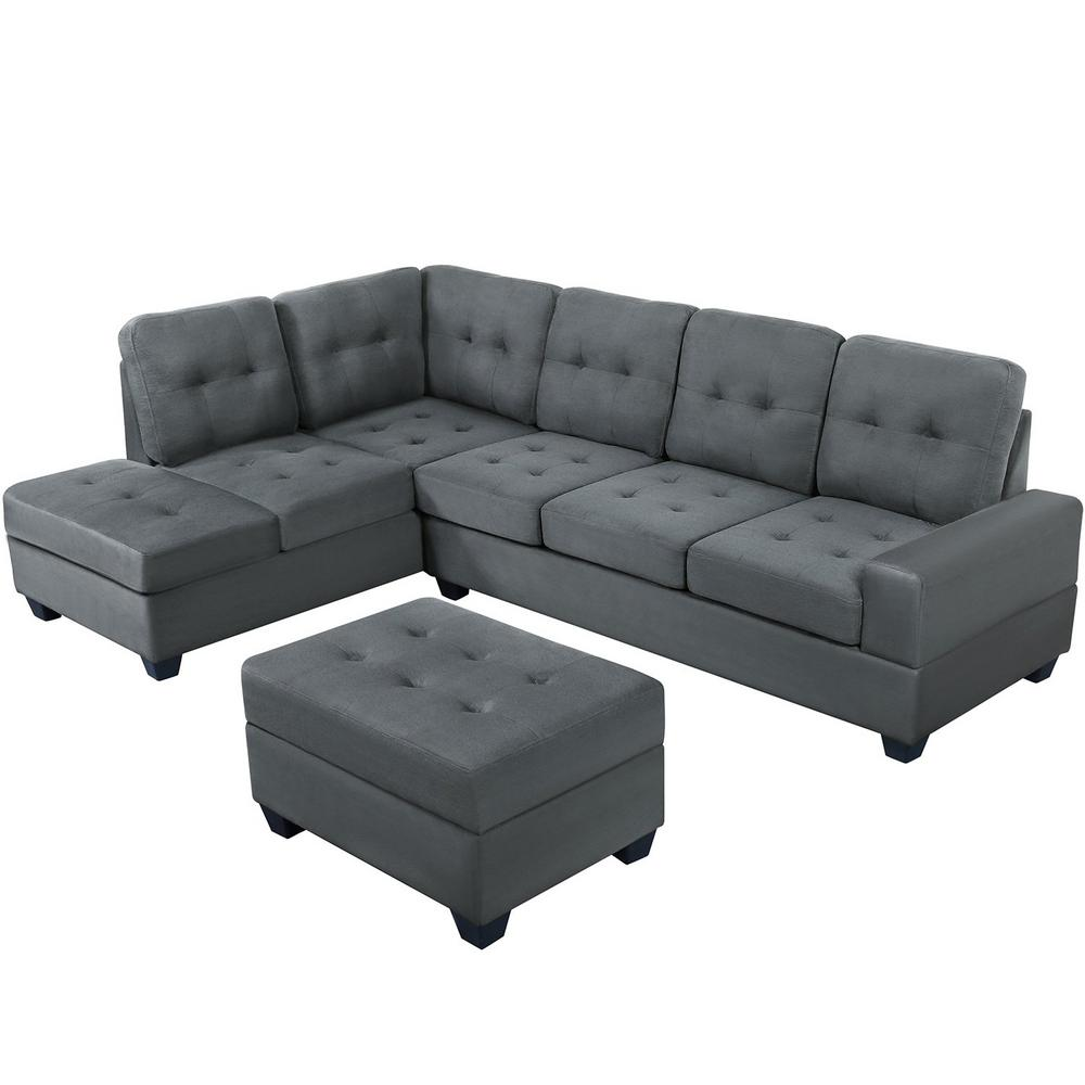 boyel living 3 piece sectional sofa microfiber with reversible chaise lounge storage ottoman and cup holders gray or sg000098aaa the home depot