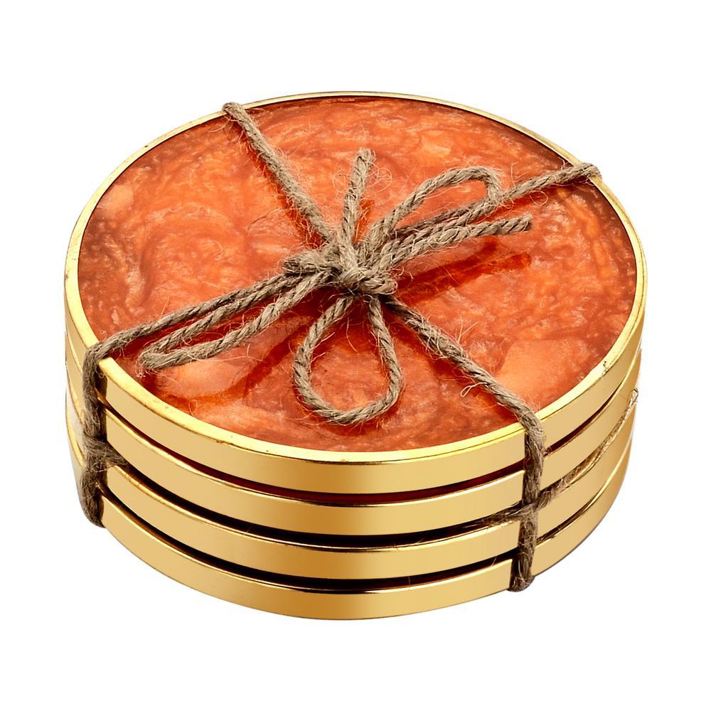 Mascot Hardware Hammered Brass 4 Pieces Orange Coaster Set