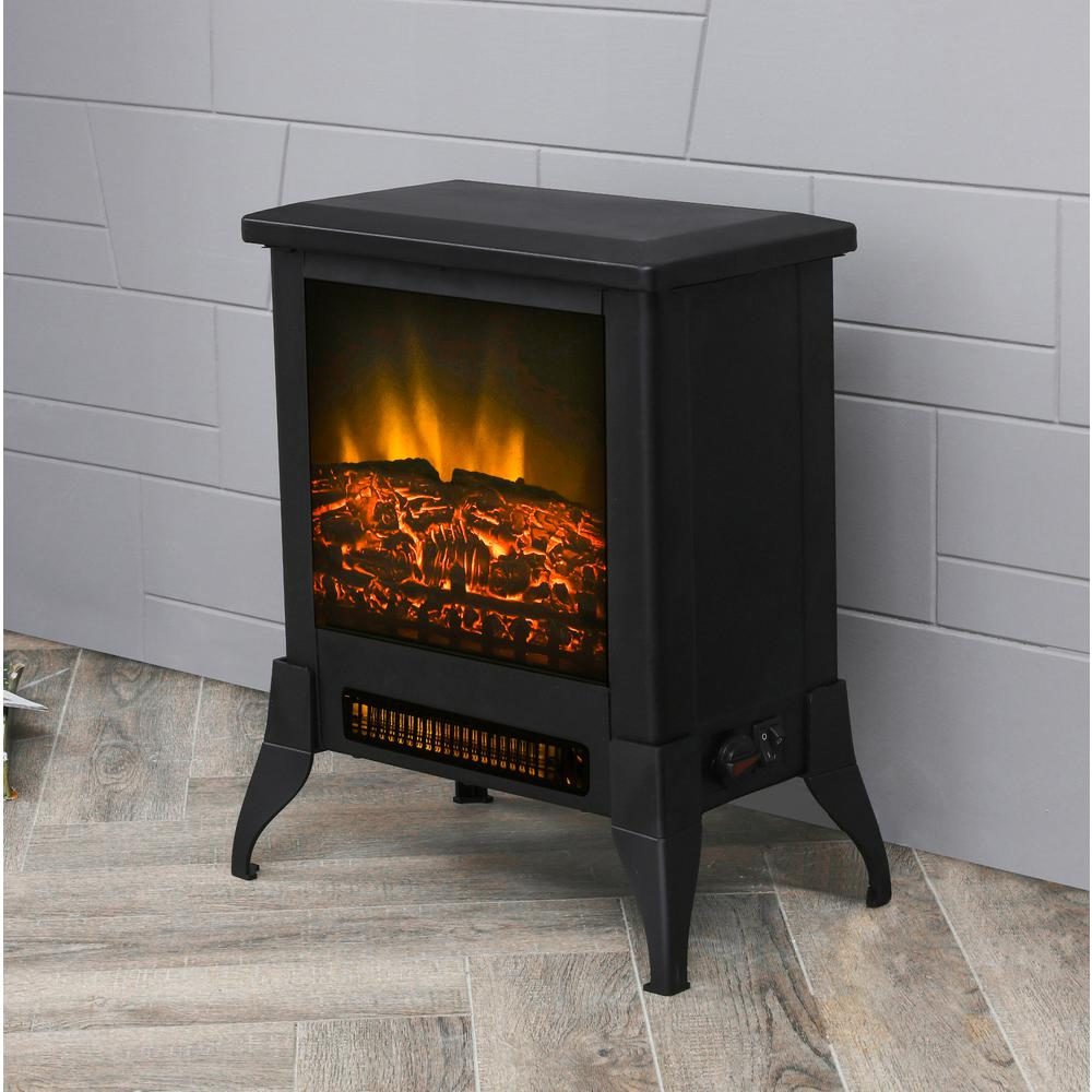 Lokatse Home 15 In Freestanding Electric Fireplace In Black Fd19450 The Home Depot