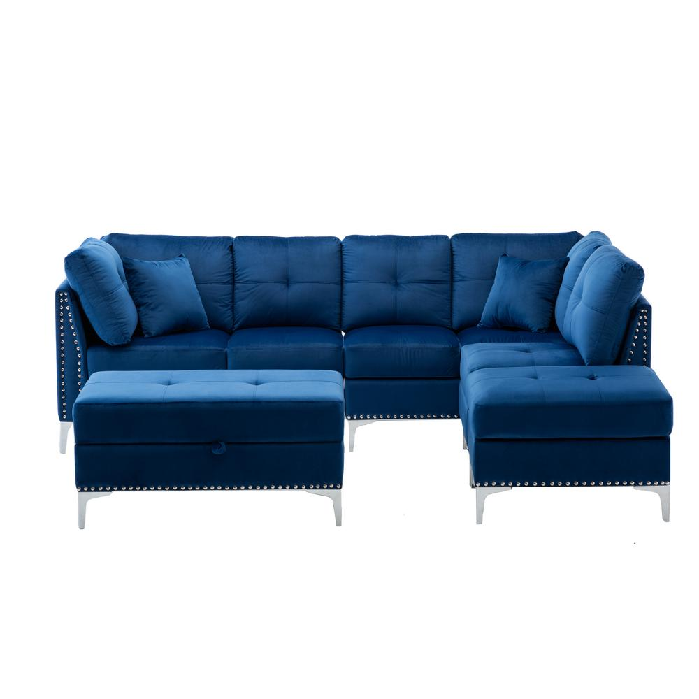 boyel living wittig 100 in navy blue velvet tufted 4 seats sofa chaise with nailhead convertible sectional couch wf hfsn 164ny the home depot