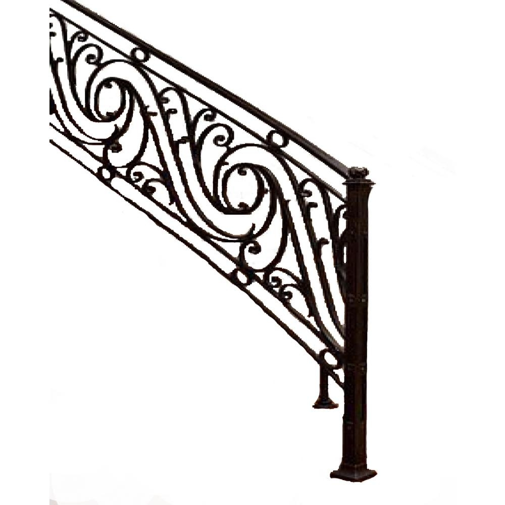 96 In L X 38 In H Finished Black Wrought Iron Baluster Railing | Black Wrought Iron Stair Railing | Oak And Iron | Straight Line | Rectangular Iron | Walnut Iron | Steel Railing