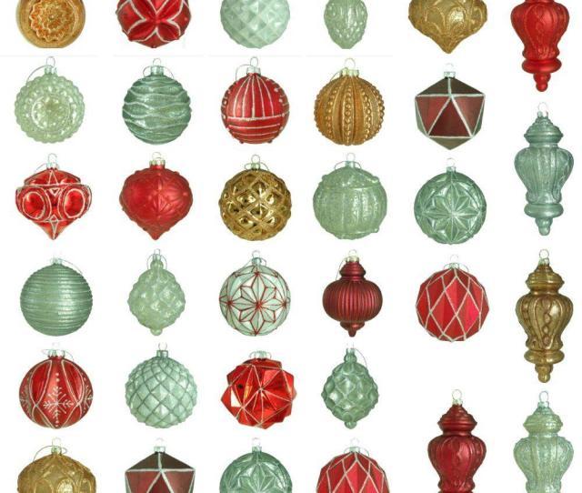 Martha Stewart Living Winter Tidings Glass Ornament Set  Count