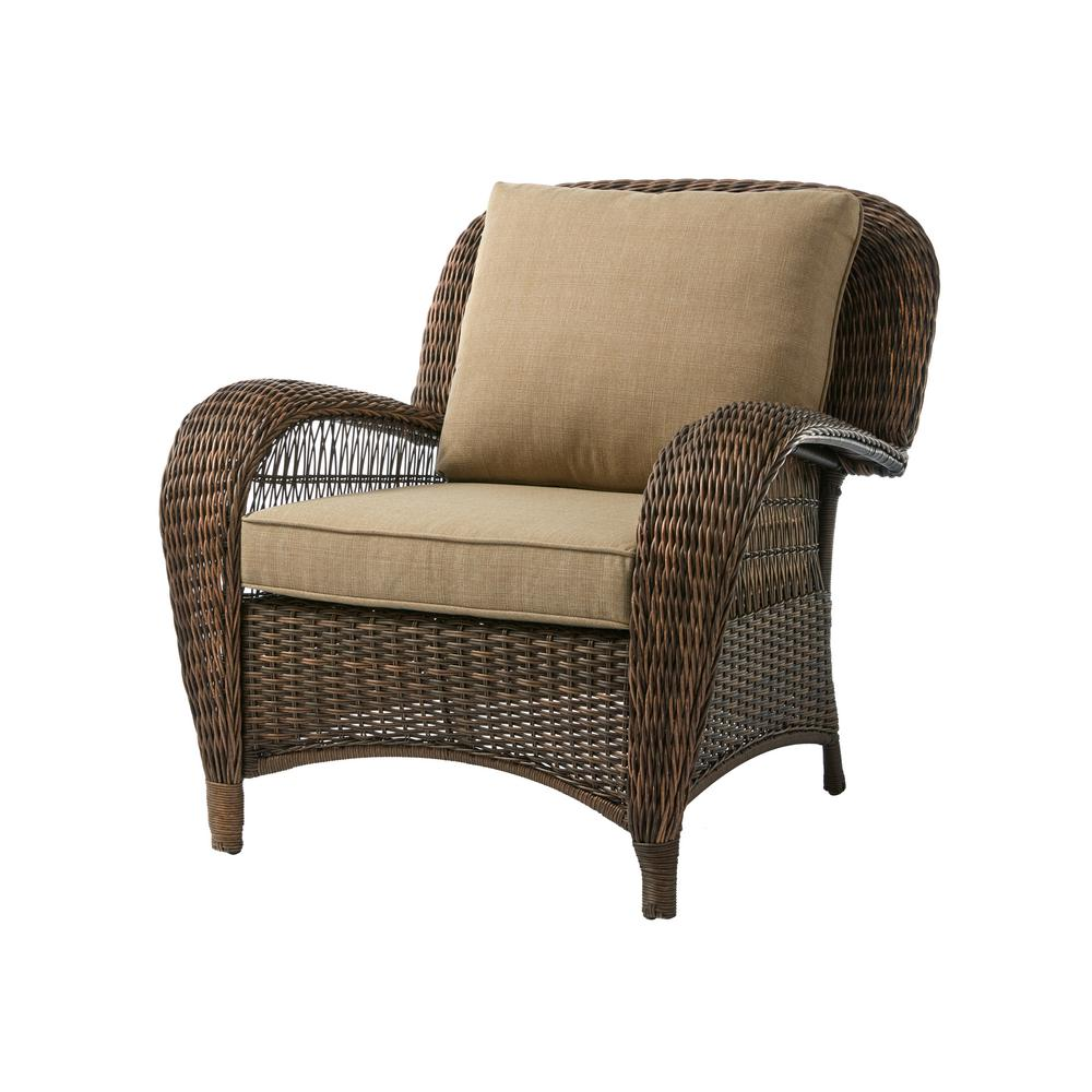 hampton bay beacon park brown wicker outdoor patio stationary lounge chair with toffee tan cushions frs80812c the home depot