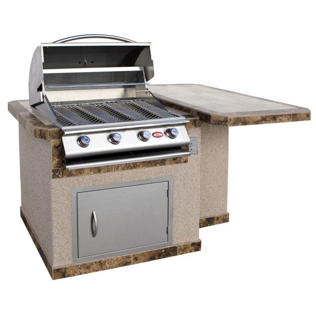 cal flame 6 ft. stucco grill island with tile top and 4-burner gas