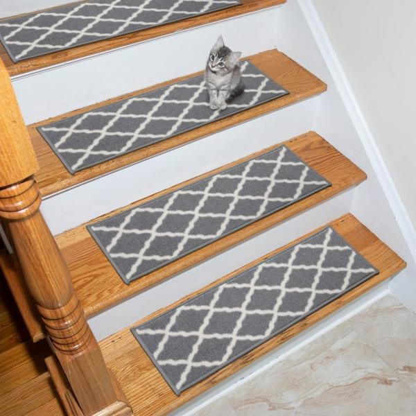 Ottomanson Glamour Collection Gray 9 In X 26 In Polypropylene | Stick On Stair Treads | Step | Unique | Maple Stair | Integrated Post | Solid Weathered