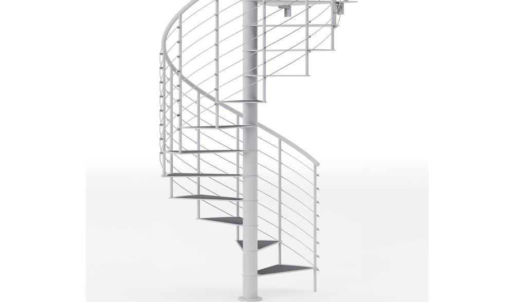Mylen Stairs Hayden White Interior 60 Diameter 14 Treads With 1 | Flexible Handrail For Spiral Staircase | Staircase Ideas | Stair Kit | Loft Stairs | Stair Parts | Modern Staircase