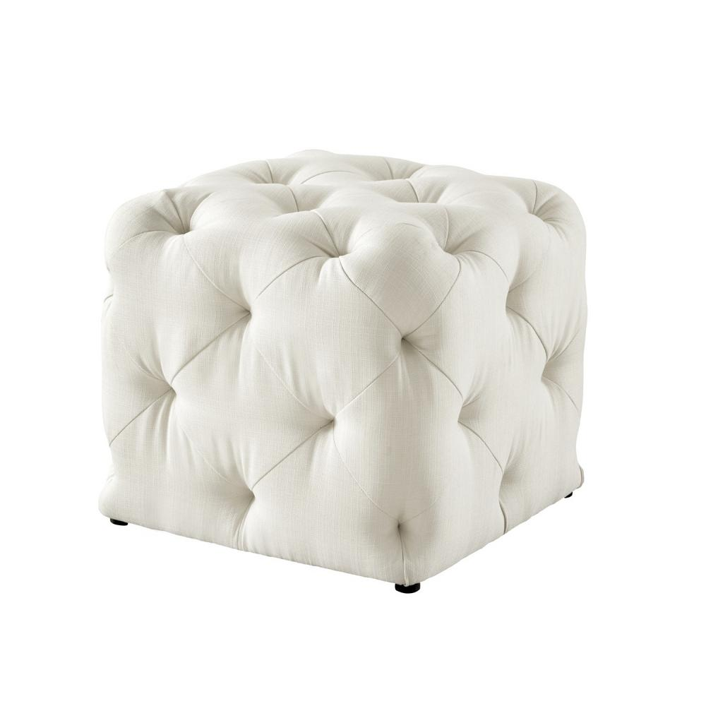 inspired home genevieve cream white cube tufted upholstered linen ottoman on84 03cw hd the home depot