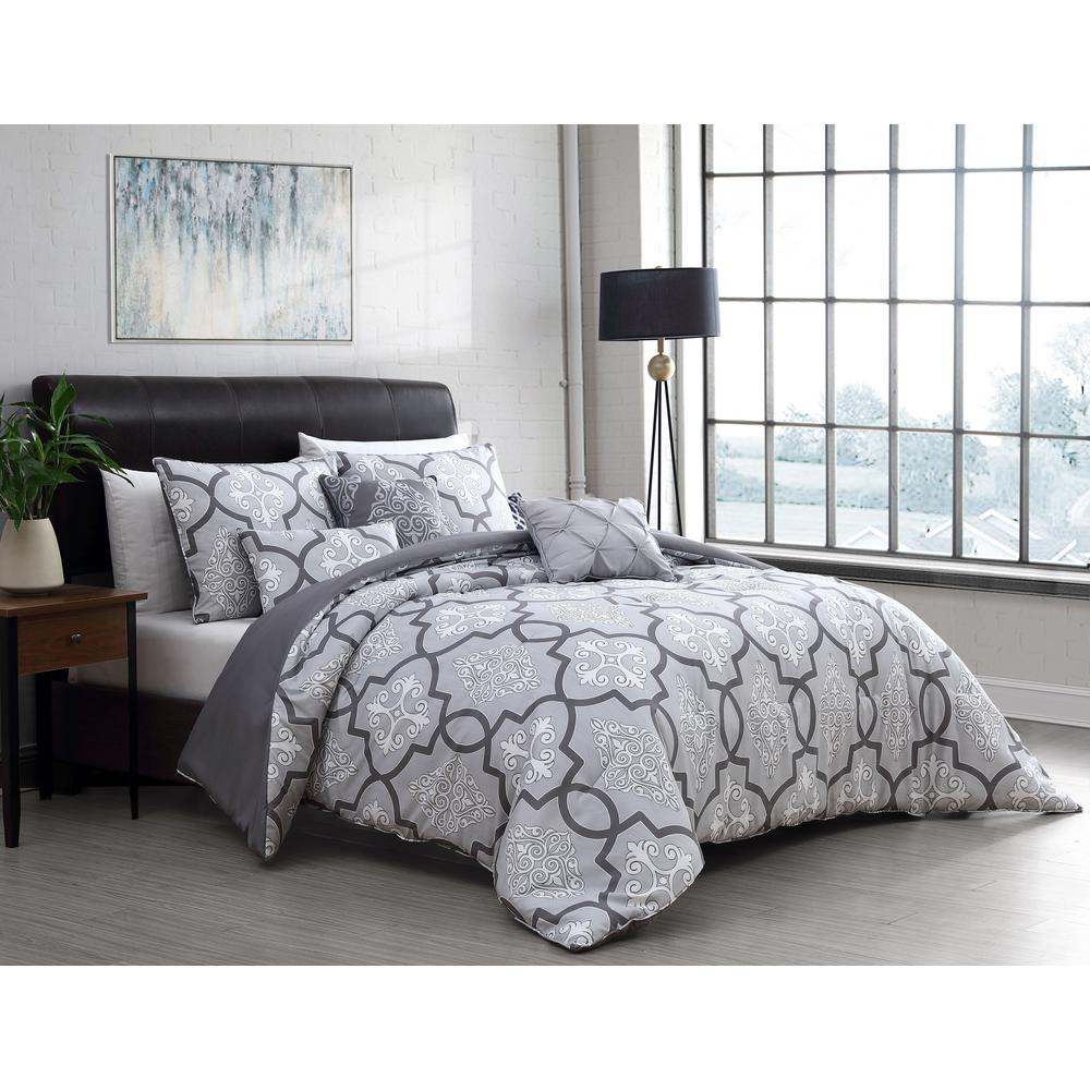 unbranded lawton 6 piece gray queen size comforter set with throw pillows law6csquenghgy the home depot