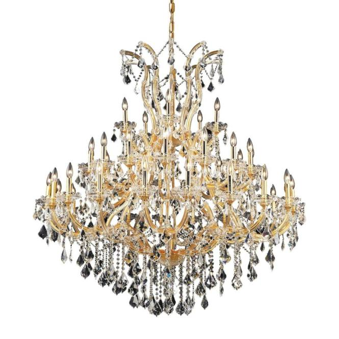 Elegant Lighting 41 Light Gold Chandelier With Clear Crystal El2800g52g Rc The Home Depot
