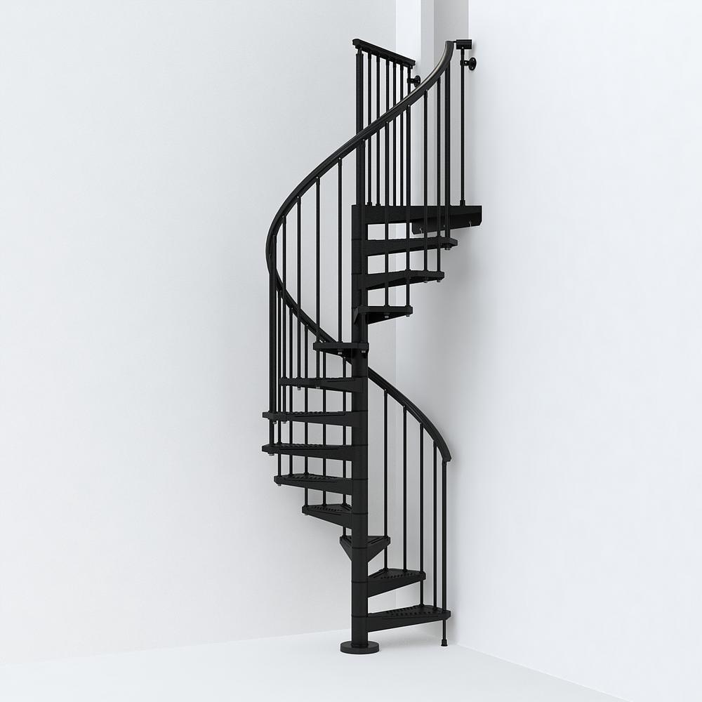 Sky030 47 In Black Spiral Staircase Kit K26284 The Home Depot | Outdoor Spiral Staircase Home Depot | Reroute Galvanized | Handrail | Arke Nice1 | Arke Enduro | Galvanized Exterior