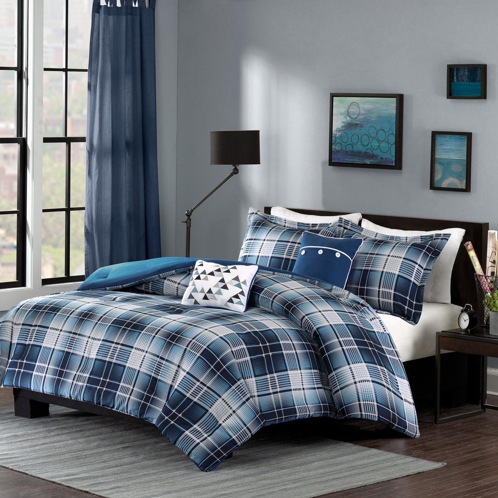 intelligent design dexter 5 piece blue full queen comforter set id10 379 the home depot