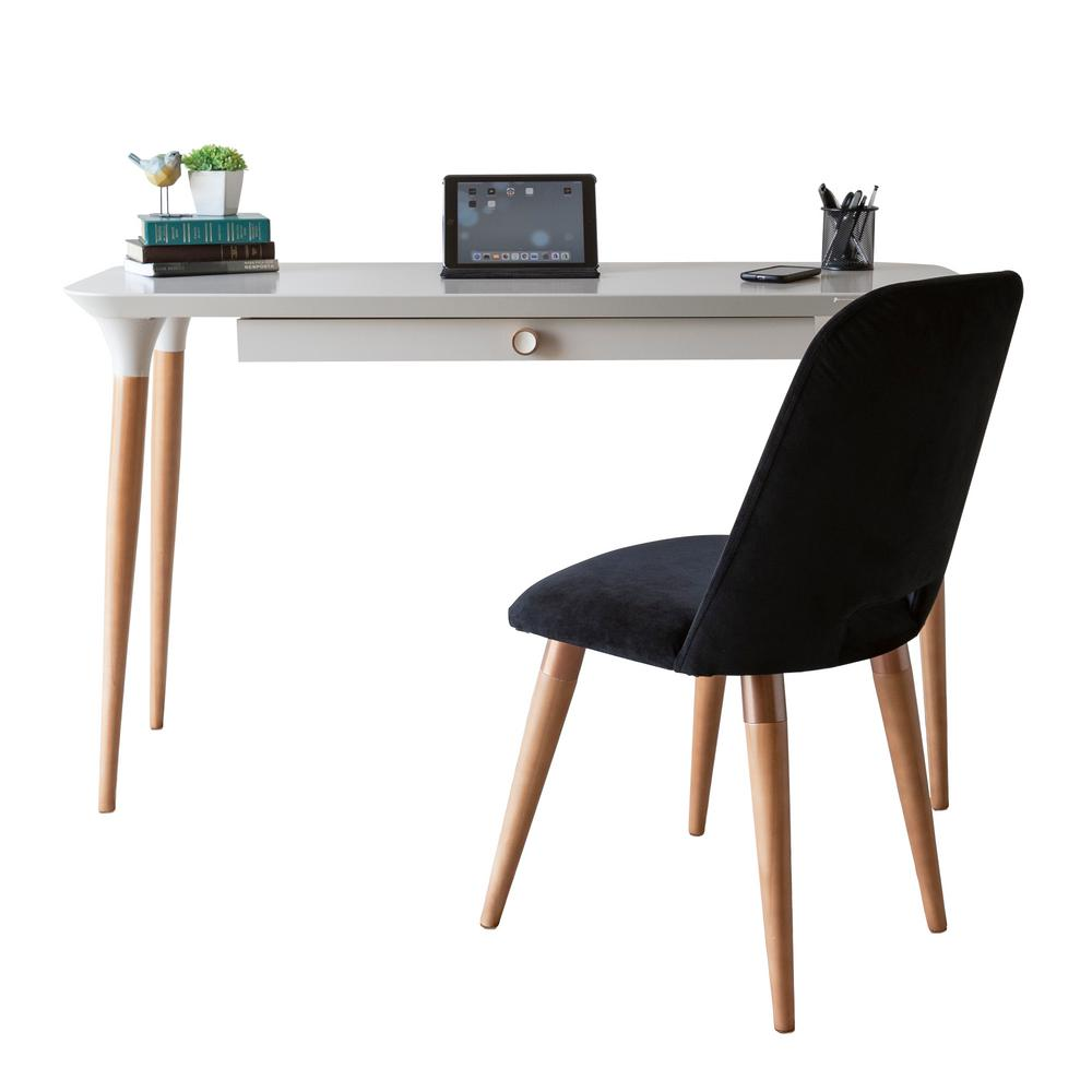 manhattan comfort homedock off white office desk and selina black accent chair set 2 2532511020565 the home depot