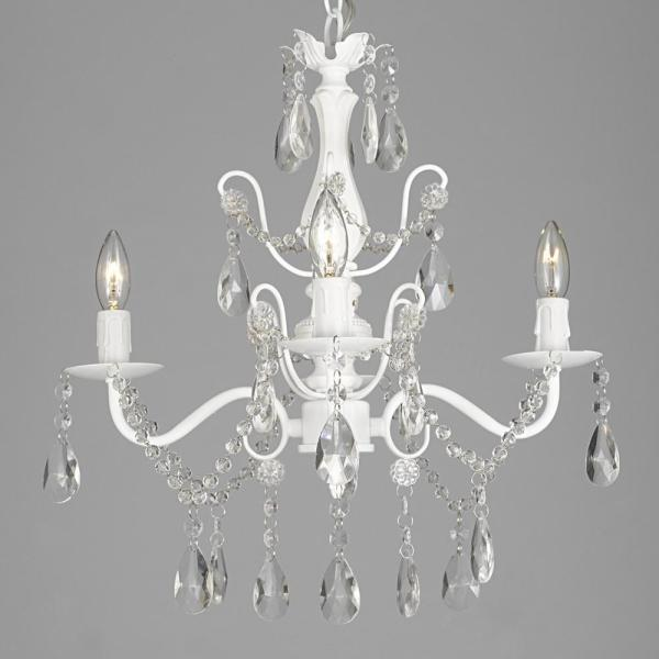 Contemporary 4 Light White Iron And Crystal Chandelier T1 1004