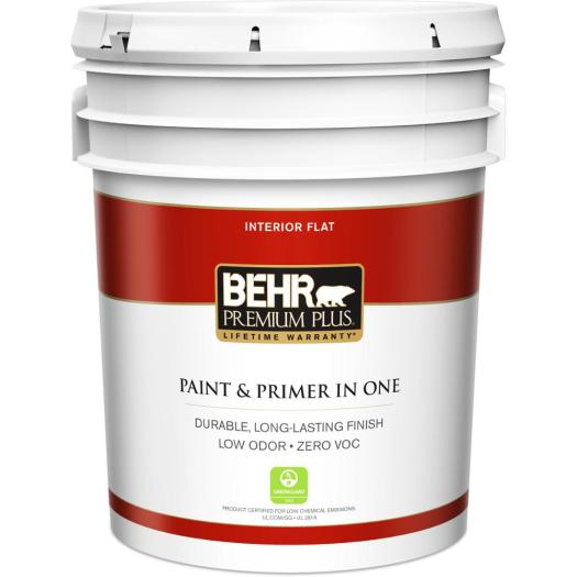 Behr Premium Plus 5 Gal Ultra Pure White Flat Zero Voc Interior Paint And Primer