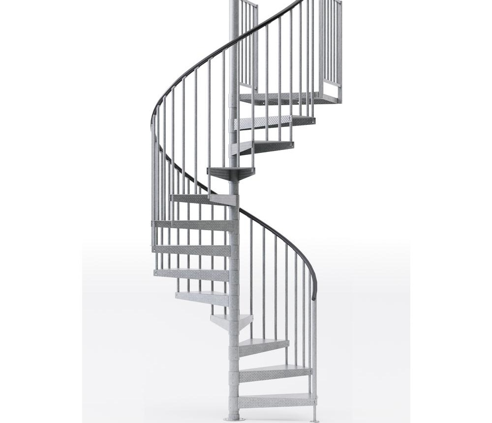 Mylen Stairs Reroute Galvanized 60 In 5 Ft In Wide 10   10 Ft Spiral Staircase   Arke Eureka   Balcony Railing   Lowes   Gray Interior   Attic Staircase