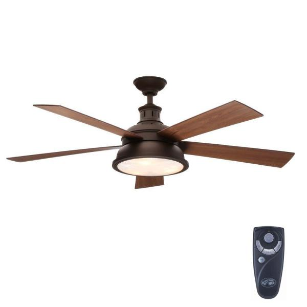 Hampton Bay Marlton 52 in  Indoor Oil Rubbed Bronze Ceiling Fan with     Indoor Oil Rubbed Bronze Ceiling Fan with Light Kit