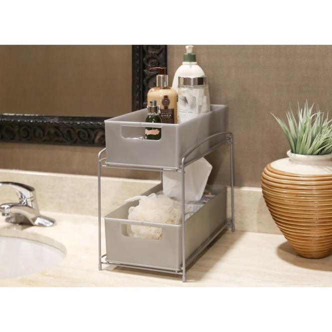 Seville Clics Satin Pewter 2 Tier Pull Out Sliding Drawer