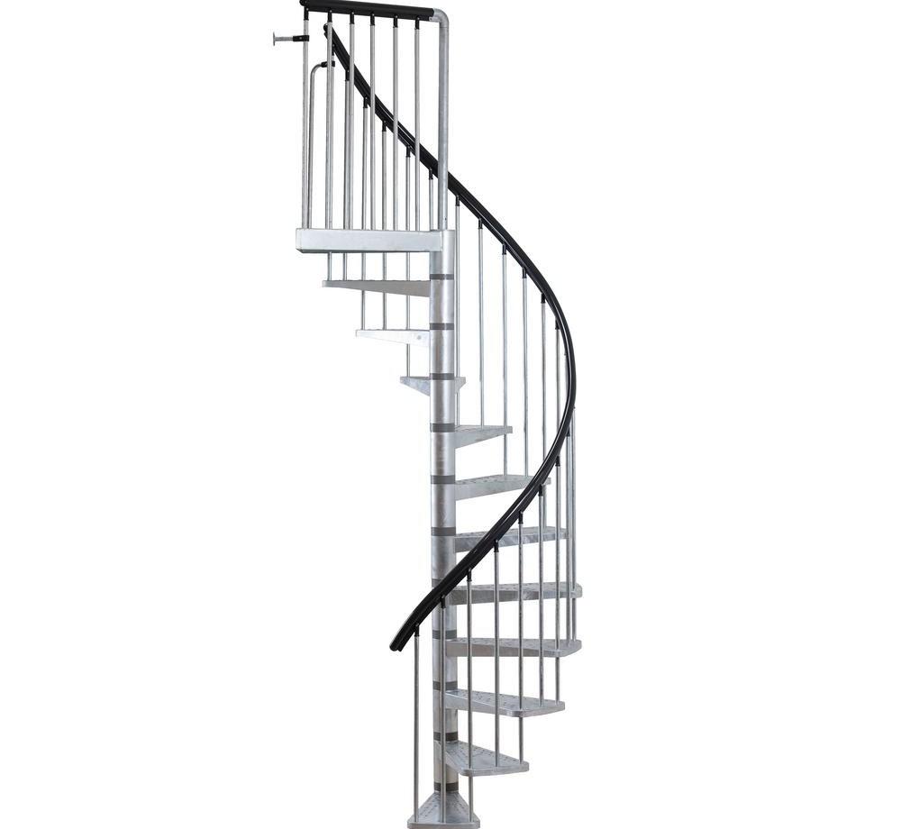 Dolle Toronto V3 10 Ft In Galvanized Stair Kit 68254 1 The | 10 Ft Spiral Staircase | Handrail | 36 Tall | Arke Phoenix | Stair Kit | Arke Enduro