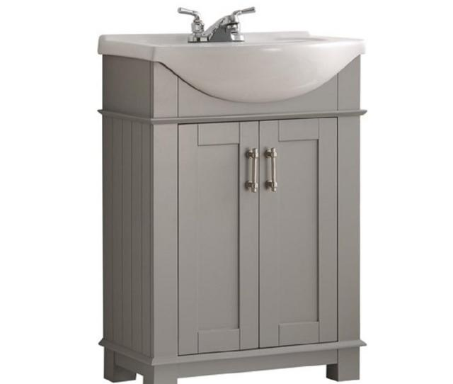 W Traditional Bathroom Vanity In Gray With Ceramic Vanity Top In