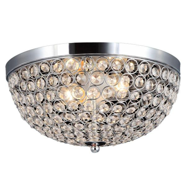 Decor Living 2 Light Chrome and Crystal Flushmount 105033 15   The     Decor Living 2 Light Chrome and Crystal Flushmount
