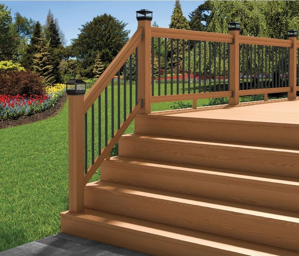 Deckorail Pressure Treated 6 Ft Cedar Tone Stair Deck Railing Kit | Black Outdoor Stair Railing | Interior Stair | Modern | Pipe | Composite Deck | 2 Step