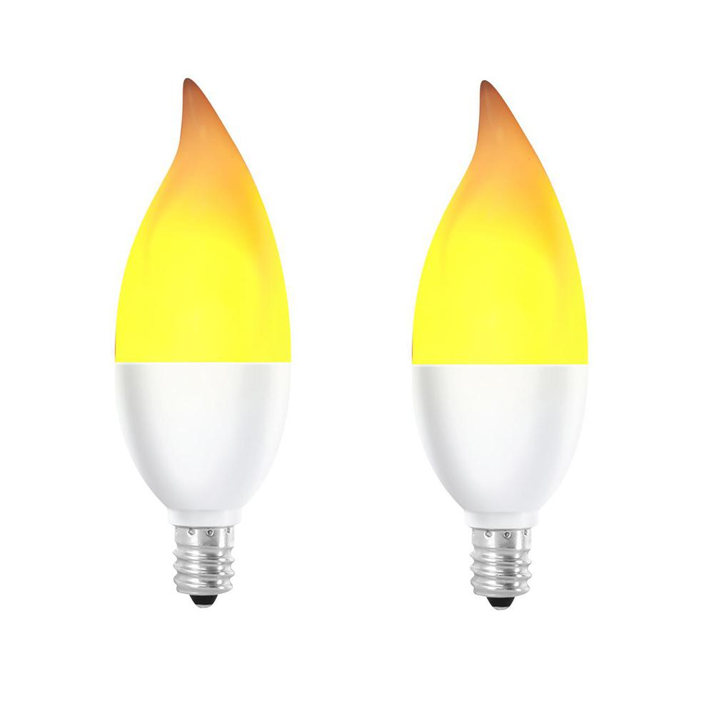 Feit Electric 2 Watt Equivalent Ca10 Flame Design Candelabra Base Led Light Bulb 2 Pack Bpflame2 C Led 2 The Home Depot