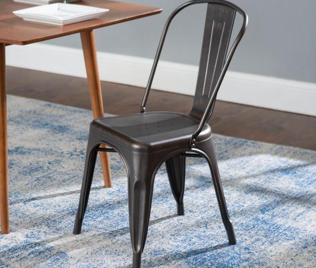 Antique Black Metal Dining Chair