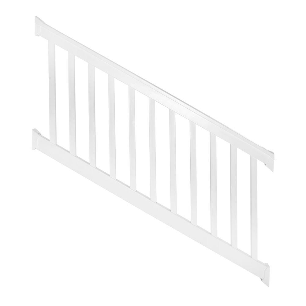 Weatherables Vanderbilt 3 Ft H X 8 Ft W White Vinyl Stair   Outside Stair Railing Home Depot   Wood   Metal   Wrought Iron Railing   Stair Parts   Baluster