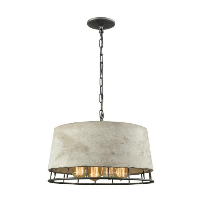 An Lighting Brocca 4 Light Round Silverdust Iron Chandelier With Concrete Shade