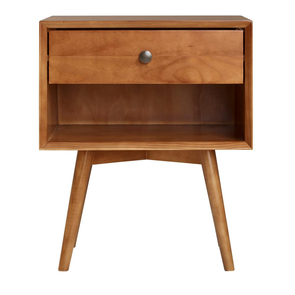 walker edison furniture company mid century 1 drawer caramel solid wood nightstand hdr25mc1dca the home depot