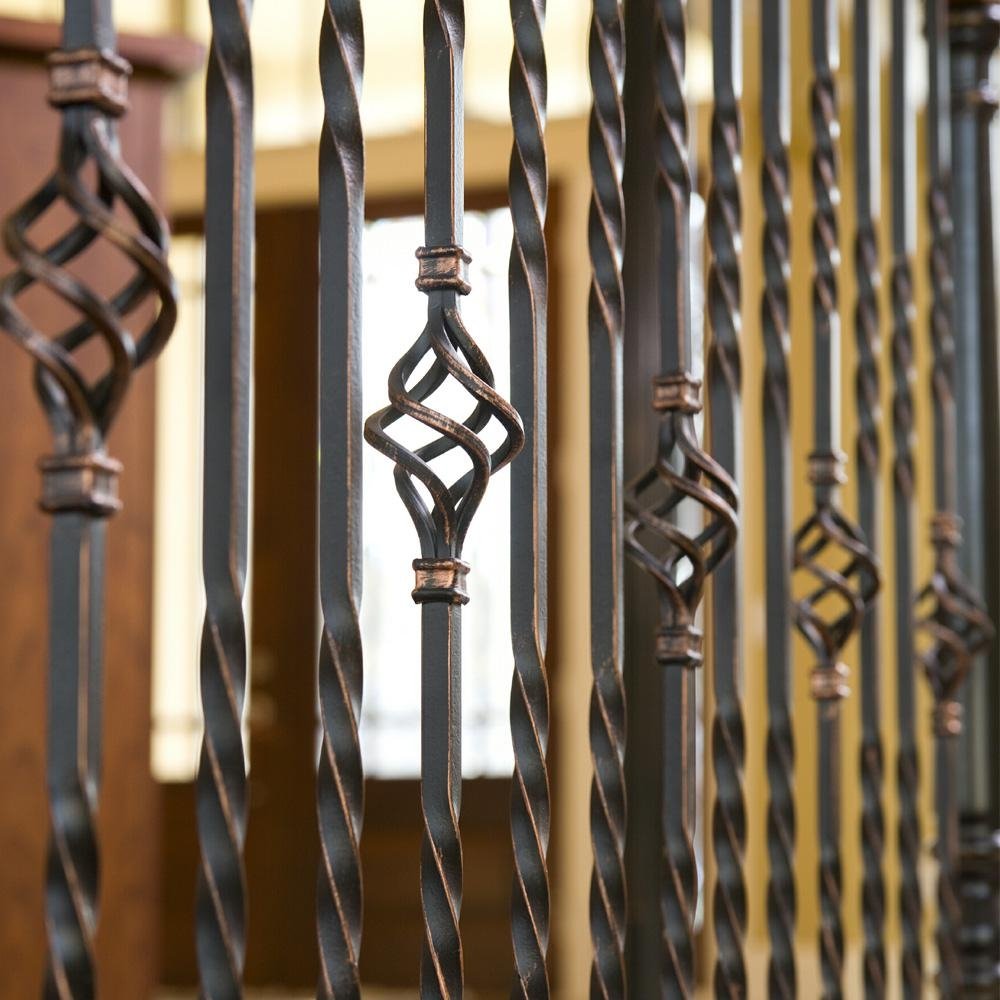 Stair Parts 44 In X 1 2 In Oil Rubbed Bronze Double Twist Metal   Home Depot Metal Balusters   Cedar   Rubbed Bronze   Wrought Iron Balusters   Staircase   Spindles