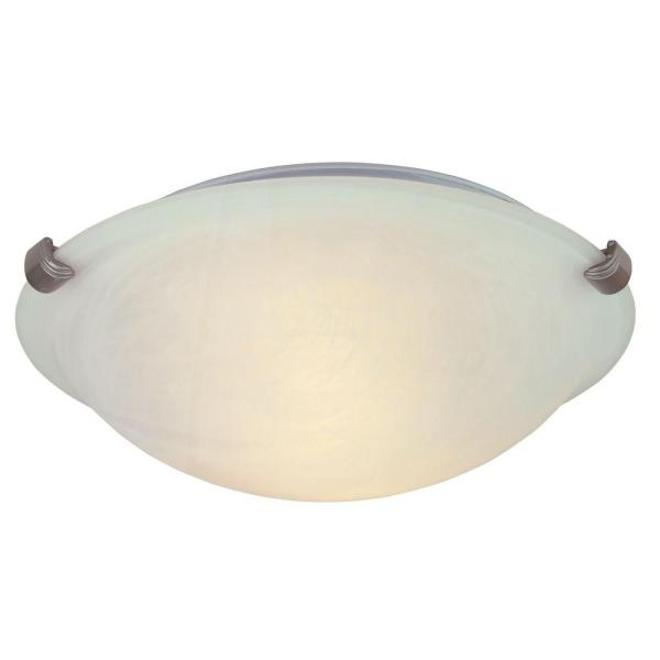 Hampton Bay 12 in  2 Light Pewter Flushmount with Alabaster Glass     2 Light Pewter Flushmount with Alabaster Glass Shade
