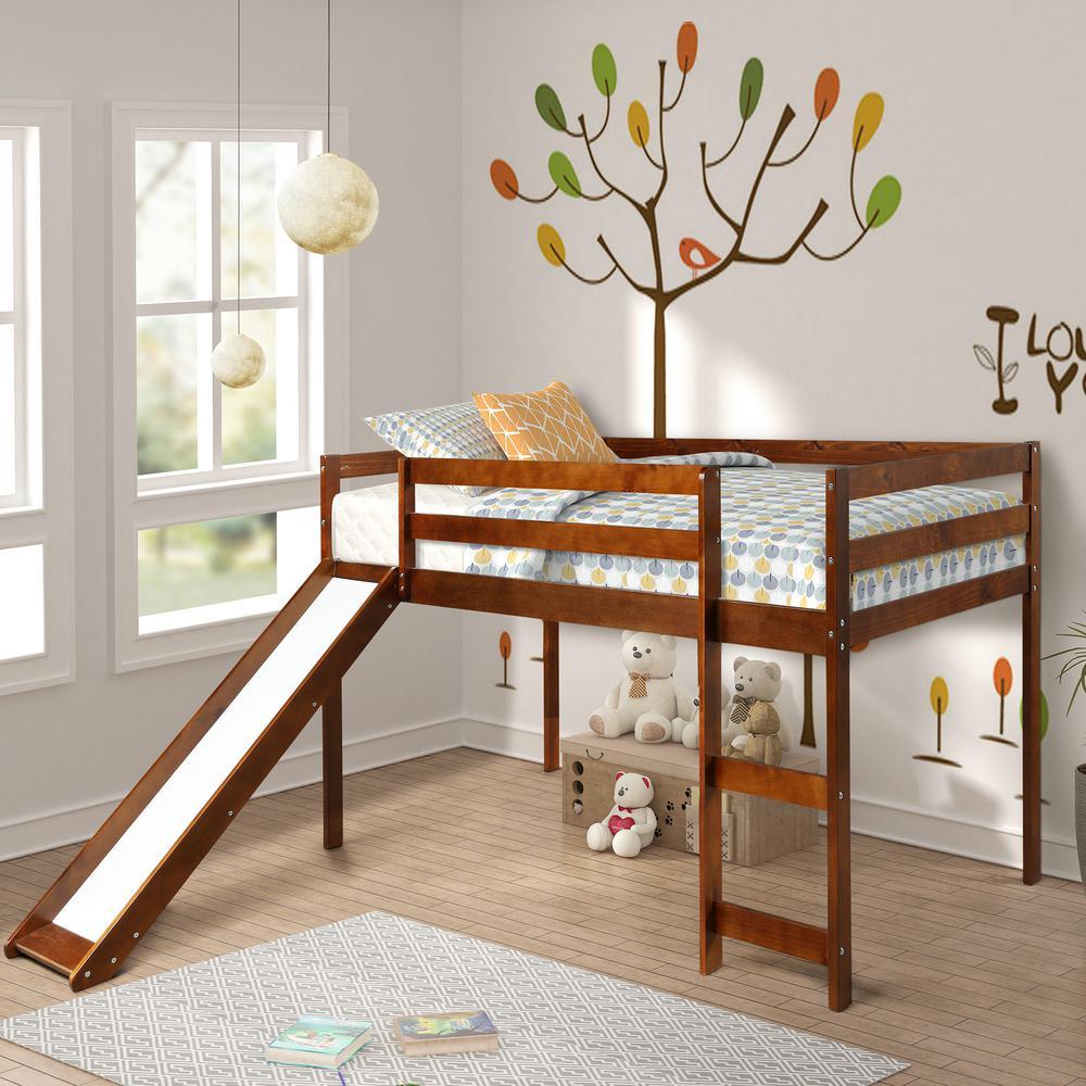 Harper Bright Designs Walnut Wood Twin Loft Bed With A Slide Wf187744daa The Home Depot