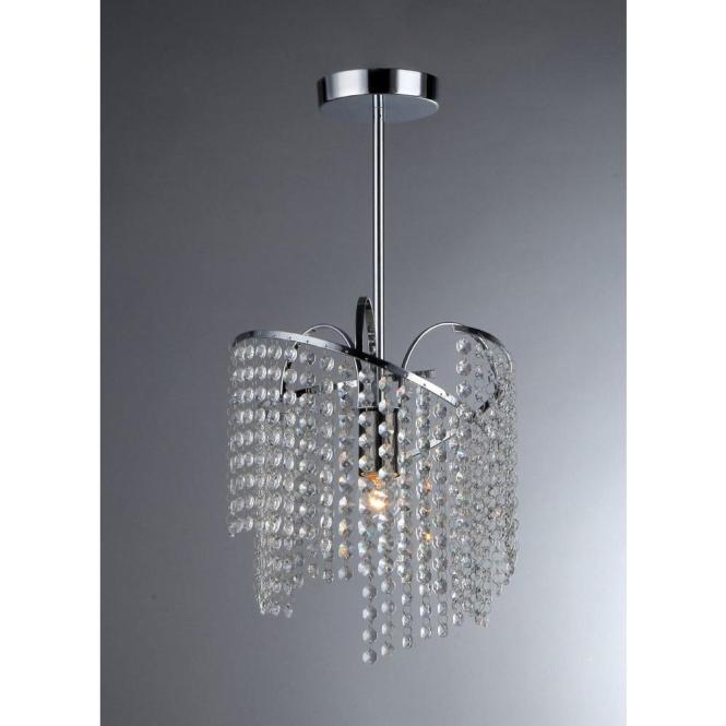 Warehouse Of Tiffany Ann 1 Light Crystal Chrome Chandelier With Shade