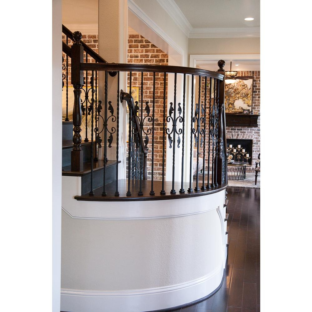 House Of Forgings Twist And Basket 44 In X 5 In Satin Black | House Of Forgings Aalto | Stair Parts | Aalto Modern | Aalto Collection | Wrought Iron Baluster | Handrail