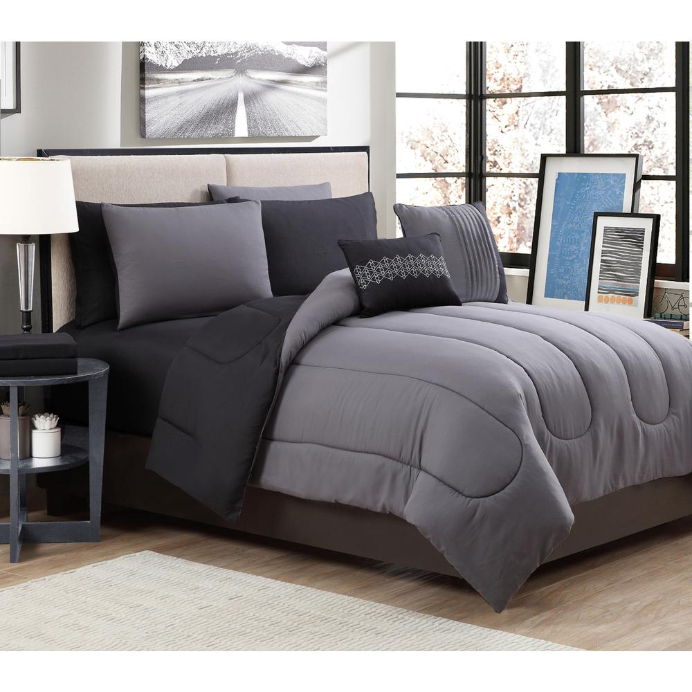 geneva home fashion 9 piece solid grey black king comforter set sol9pckingghbk the home depot