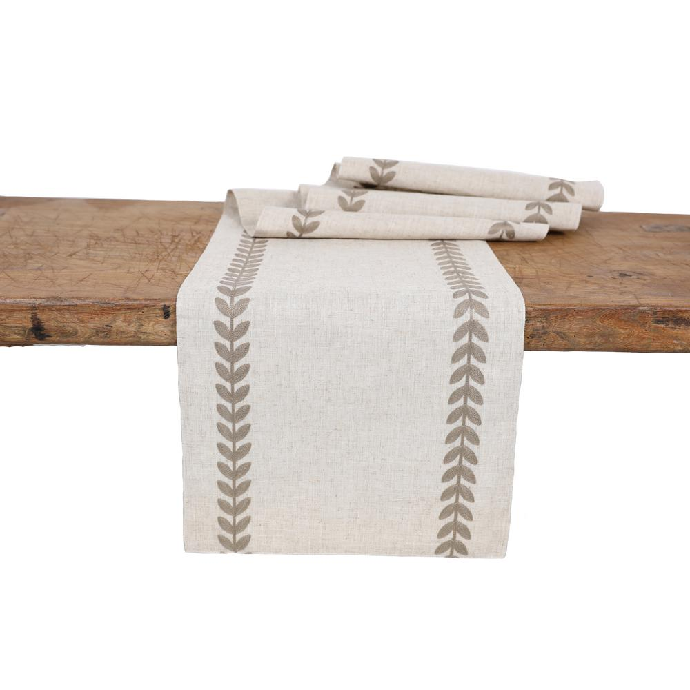 manor luxe 15 in x 108 in cute leaves crewel embroidered table runner taupe natural xd1920315108t the home depot